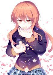 1girl absurdres brown_eyes brown_hair flower highres koe_no_katachi long_hair nishimiya_shouko petals school_uniform suzune_(sb_mb_tb) tears