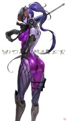 1girl ass bodysuit boots breasts elbow_gloves from_behind gloves gun hand_on_hip head_mounted_display highres knee_boots long_hair looking_back overwatch ponytail purple_skin rifle sniper_rifle solo thighs very_long_hair visor weapon widowmaker_(overwatch) yang-do yellow_eyes