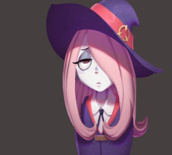 1girl freckles little_witch_academia pale_skin pink_hair school_uniform solo sucy_manbavaran tagme uniform witch_hat
