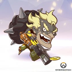 1boy artist_request blonde_hair chibi copyright_name eyebrows full_body junkrat_(overwatch) lowres male_focus mechanical_arm official_art open_mouth overwatch shirtless solo thick_eyebrows tire weapon