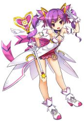 1girl :d aisha_(elsword) blackjd83 bow breasts cleavage detached_collar elsword gloves hair_ornament hairclip hand_on_hip miniskirt official_art open_mouth pink_bow pink_ribbon purple_eyes purple_hair purple_skirt ribbon shoes short_hair skirt smile solo twintails wand white_background white_gloves
