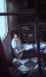 1boy bangs black_hair blurry book brown_eyes cable checkered checkered_floor dark depth_of_field fukai_rei_(yukikaze) hair_over_one_eye holding indoors legs_crossed looking_at_viewer male_focus monitor on_floor open_book pants paper parted_bangs peach_(marslave) sentou_yousei_yukikaze shirt sitting solo t-shirt television white_shirt window wire