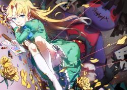 1girl blonde_hair blue_eyes crayon doll dress flower ib kneehighs long_hair lying mary_(ib) palette_knife petals rose rosele solo thorns white_legwear yellow_rose