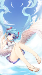 1girl aqua_hair blue_eyes cloud floating_hair hatsune_miku highres if_(asita) long_hair open_mouth sandals skirt sky solo twintails very_long_hair vocaloid wings