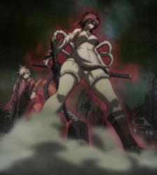 2girls breasts hyakka_ryouran_samurai_girls large_breasts long_hair maeda_keiji_(hyakka_ryouran) multiple_girls panties red_hair standing upskirt white_panties yagyuu_juubei_(hyakka_ryouran)
