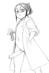 1girl artist_request bangs blush dark_hair erection eyebrows flat_chest futanari glasses hand_in_pocket holding lab_coat loli looking_at_viewer monochrome naughty_face navel nipples no_panties nude oversized_clothes parted_bangs payot penis phimosis pussy pussy_juice smirk solo sweat tagme