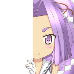 1girl gloves hair_ornament hatsuharu_(kantai_collection) kantai_collection long_hair looking_at_viewer nagineko peeking_out purple_eyes purple_hair school_uniform serafuku smile solo transparent_background white_gloves