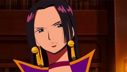 1girl animated animated_gif black_hair blue_eyes boa_hancock breasts earrings jewelry large_breasts one_piece