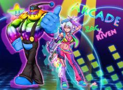 alternate_costume arcade belt breasts cleavage dance_dance_revolution goo_guy highres league_of_legends phantom_ix_row power_glove riven_(league_of_legends) short_hair silver_hair slime star sunglasses yellow_eyes zac