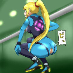 1girl anus artist_request blonde_hair blue_eyes blush long_hair metroid nintendo ponytail samus_aran solo squatting surprised torn_clothes translation_request uncensored zero_suit