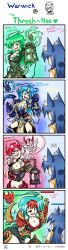 2girls 4koma absurdres ahri animal_ears armor artist_name blue_eyes blue_hair blush breasts chibi cleavage comic genderswap green_eyes green_hair hair_ornament highres lantern large_breasts league_of_legends long_hair multicolored_hair multiple_girls navel open_mouth red_eyes signature smile teeth tentacle thresh vilde_loh_hocen warwick weapon yellow_eyes yuri