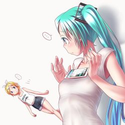... 2girls aqua_eyes aqua_hair blonde_hair blue_eyes breast_conscious breasts cellphone dutch_angle earrings erect_nipples hair_ornament hair_ribbon hairclip hatsune_miku jewelry kagamine_rin long_hair meme multiple_girls nail_polish nipples phone ribbon see-through shorts small_breasts smartphone spoken_ellipsis tank_top tawawa_challenge twintails vocaloid walk-in white_background wokada