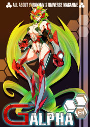 1girl absurdly_long_hair absurdres bare_shoulders blonde_hair breasts detached_sleeves erect_nipples garayann gauntlets green_eyes headgear high_heels highres large_breasts long_hair low_twintails mecha_musume midriff navel open_mouth revealing_clothes solo twintails very_long_hair