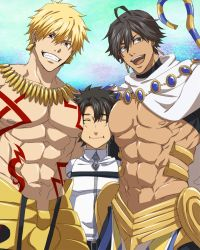 3boys black_hair blonde_hair blue_sky boy_sandwich brown_hair cape dark_skin dark_skinned_male day earrings eyes_closed fate/grand_order fate/prototype fate/prototype:_fragments_of_blue_and_silver fate_(series) fujimaru_ritsuka_(male) gilgamesh grin height_difference highres jewelry male_focus multiple_boys muscle nipples pectorals red_eyes rider_(fate/prototype_fragments) sandwiched shirtless short_hair sky smile staff tattoo uniform youkami
