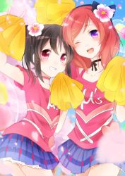 2girls ;d black_hair cheerleader choker flower grin hair_flower hair_ornament happy_maker! looking_at_viewer love_live!_school_idol_project multiple_girls nishikino_maki one_eye_closed open_mouth pom_poms purple_eyes puzsan red_eyes red_hair skirt smile yazawa_nico