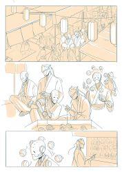 2boys 3koma comic genji_(overwatch) highres humanoid_robot japanese_clothes kimono lantern monochrome multiple_boys overwatch paper_lantern yukata zenyatta_(overwatch)