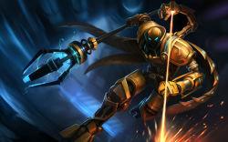 absurdres armor highres league_of_legends solo viktor_(league_of_legends) weapon