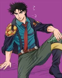 1boy black_hair blue_eyes boots bottle jacket jacket_on_shoulders jojo_no_kimyou_na_bouken joseph_joestar_(young) necktie rokuharu scarf solo suspenders