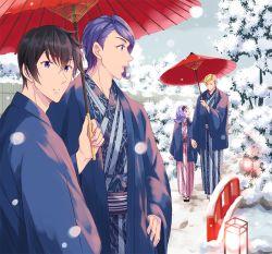 1girl 3boys almiria_bauduin blonde_hair blue_eyes brother_and_sister ein_dalton eyelashes gaelio_bauduin gundam gundam_tekketsu_no_orphans hairband hand_holding hand_on_hip haori iincho_(airi8751) japanese_clothes kimono lantern looking_at_another looking_at_viewer mcgillis_fareed multiple_boys oriental_umbrella overcast purple_hair siblings snow tree umbrella yukata