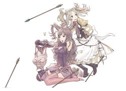 2girls :o apron armor arrow bangs bare_shoulders belt blonde_hair blue_eyes blush boot_removed boots breastplate breasts brown_eyes brown_hair brush brushing butterfly buttons cleavage corset detached_sleeves dress feathers fire_emblem fire_emblem:_kakusei flinch garter_straps gauntlets gloves hair_brush hair_brushing hair_ornament highres holding kozaki_yuusuke leaning leaning_forward liz_(fire_emblem) long_hair long_sleeves medium_breasts multiple_girls no_shoes open_mouth parted_bangs pink_legwear planted_arrow puffy_sleeves purple_gloves shoes_removed short_dress short_hair short_twintails simple_background single_boot single_shoe sitting sleeveless spaulders striped sumia sweatdrop tank_top thigh_boots thighhighs tiara tiptoes twintails wariza wavy_hair white_background wide_sleeves worried zettai_ryouiki