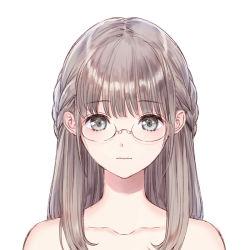1girl bangs blue_reflection glasses hair_over_shoulder kishida_mel light_brown_hair long_hair portrait solo tied_hair white_background