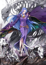 1girl black_shoes blood bloody_tears blue_eyes caster character_name cloak dress fate/stay_night fate_(series) highres jun_ling no_headwear pointy_ears purple_dress robe rulebreaker shoes skeleton solo undead
