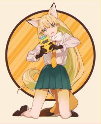 1girl :q alternate_costume animal_ears beige_background black_gloves blonde_hair border bow bowtie brown_footwear brown_shoes circle collar collared_shirt copyright_name diagonal_stripes eyebrows eyelashes ezo_red_fox_(kemono_friends) fox_ears fox_tail full_body game_boy_color game_console gloves gradient_legwear green_eyes green_skirt handheld_game_console kamameshi_gougou_maru kemono_friends kneeling long_hair long_sleeves looking_down multicolored multicolored_background multicolored_clothes multicolored_eyes multicolored_legwear necktie nintendo no_jacket orange_background orange_necktie pantyhose pink_border pleated_skirt ribbon-trimmed_skirt ribbon_trim shirt shoes simple_background skirt solo striped striped_background striped_necktie tail thick_eyebrows tongue tongue_out tsurime two-tone_legwear very_long_hair white_bow white_bowtie white_legwear white_shirt yellow_border yellow_eyes