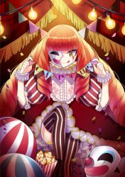 arisusama bangs light_bulb mask original popcorn puffy_short_sleeves puffy_sleeves red_hair short_sleeves solo striped striped_legwear thighhighs vertical-striped_legwear vertical_stripes yellow_eyes