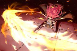 1girl cape dutch_angle fire long_hair ohlia open_mouth red_eyes red_hair school_uniform shakugan_no_shana shana slashing swinging sword thighhighs weapon