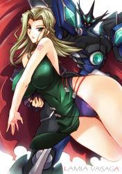 bare_shoulders breasts erect_nipples green_eyes green_hair haganef highres lamia_loveless large_breasts mecha super_robot_wars super_robot_wars_original_generation tattoo vaisaga