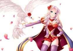 1girl ashe_(league_of_legends) bangs bird bird_on_arm breasts cape cowboy_shot curly_hair flower gloves hair_ornament hamifr hand_on_hip heart heart_hair_ornament heartseeker_ashe highres league_of_legends long_hair long_sleeves looking_up miniskirt panties parted_bangs petals rose rose_petals simple_background skirt smile smirk solo thighhighs underwear white_background white_gloves white_hair zettai_ryouiki