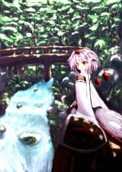 1girl animal_ears bridge clses forest hat highres inubashiri_momiji katana long_skirt nature red_eyes ribbon-trimmed_sleeves ribbon_trim sheath sheathed shield short_hair silver_hair skirt smile sword tail tokin_hat touhou water weapon wolf_ears wolf_tail wooden_bridge