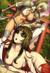 2girls armor black_hair breasts dark_skin echidna elf green_hair large_breasts long_hair lying multiple_girls official_art open_mouth pointy_ears queen's_blade red_eyes smile snake standing sword tomoe torn_clothes weapon