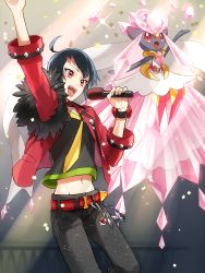 1boy :d adonis_belt ahoge alternate_costume arm_up belt black_hair confetti diancie heart highres holding idol jacket male_focus microphone navel nuku open_clothes open_jacket open_mouth pink_lips poke_ball pokemon pokemon_(creature) pokemon_special red_eyes ruby_(pokemon) scar short_hair smile sparkle sweat