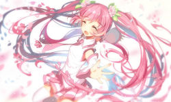 1girl :d ^_^ alternate_color alternate_hair_color bison_cangshu blush boots cherry cherry_blossoms detached_sleeves eyes_closed flower food fruit hair_flower hair_ornament hatsune_miku leaf long_hair necktie open_hands open_mouth outstretched_arms petals pink pink_boots pink_hair pink_legwear pleated_skirt sakura_miku skirt smile solo spinning thigh_boots thighhighs twintails very_long_hair vocaloid