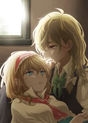 2girls alice_margatroid bangs between_breasts blonde_hair blue_eyes bow bowtie braid cape collared_shirt couple covered_mouth cravat eyebrows eyebrows_visible_through_hair eyelashes frills green_bow green_bowtie hair_between_eyes hair_bow hair_kiss hairband hand_holding holding holding_another's_hair holding_hair indoors kirisame_marisa kiss lolita_hairband long_hair multiple_girls nip_to_chip no_hat parted_lips red_eyes shade shirt short_hair sleeves_rolled_up touhou upper_body vest white_bow window yuri