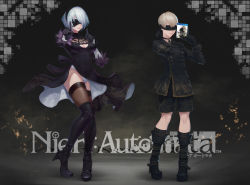 1boy 1girl absurdres black_boots black_dress black_jacket black_legwear black_shorts blindfold boots breasts cleavage cleavage_cutout copyright_name dancing dress full_body gloves hairband high_heel_boots high_heels highres jacket koi_dance large_breasts leotard mole mole_under_mouth nier_(series) nier_automata ptdoge short_hair shorts silver_hair smile thigh_boots thighhighs white_leotard yorha_no._2_type_b yorha_no._9_type_s