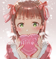 1girl amami_haruka blush bow box breath brown_hair gift gift_box green_eyes hair_bow heart idolmaster redrop short_hair smile snowing solo valentine