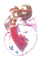 1girl absurdres alternate_eye_color alternate_hair_length alternate_hairstyle artist_name ascot between_fingers black_shoes blush bow breasts brown_hair butterfly cherry_blossoms collar detached_sleeves frilled_bow frilled_collar frilled_skirt frills full_body gohei hair_bow hair_tubes hakurei_reimu highres hinasumire light long_skirt looking_at_viewer midriff navel petals red_shirt red_skirt ribbon-trimmed_sleeves ribbon_trim rope sarashi shimenawa shiny shiny_hair shirt shoes simple_background skirt sleeveless sleeveless_shirt smile solo stomach talisman touhou white_background wide_sleeves yellow_eyes