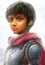 1girl armor berserk black_hair breastplate brown_eyes cape casca dark_skin lips miyamoto_(krmc) portrait short_hair solo spaulders