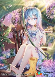 1girl ahoge barefoot bench blue_eyes blue_hair blush boots boots_removed choker collarbone company_name copyright_name eyebrows_visible_through_hair feet flower hydrangea long_hair looking_at_viewer official_art parted_lips qurare_magic_library shoes_removed short_sleeves sitting smile snow_is solo water_drop yellow_boots