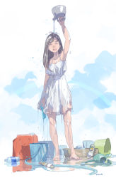 1girl arm_up barefoot black_hair bucket canister dress eyes_closed kettle open_mouth original pomodorosa pouring sandals_removed solo water watering_can wet