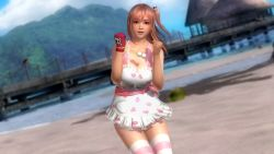 1girl 3d bangs beach bow breasts cleavage dead_or_alive dead_or_alive_5 gloves hair_ornament hearts honoka_(doa) large_breasts long_hair maid_outfit open_mouth pink_hair red_eyes skirt skull stockings tagme thighs water
