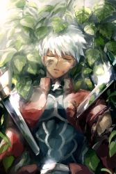 1boy archer bruise bush commentary_request dark_skin dark_skinned_male death deep_wound eyes_closed fate/stay_night fate_(series) injury leaf lying on_back outdoors plant solo sword tears torn_clothes weapon white_hair