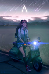 1girl annie_mei annie_mei_project backpack bag caleb_thomas falling_star goggles goggles_on_head green_eyes long_hair motor_vehicle necktie night night_sky original pink_hair scooter shoes skirt sky sleeves_rolled_up sneakers socks solo vehicle vespa