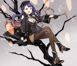 1girl bare_tree black_eyes brown_hair buzz cane gloves gradient_hair hat legs_crossed long_hair multicolored_hair open_mouth pantyhose pixiv_fantasia pixiv_fantasia_t purple_hair solo tree