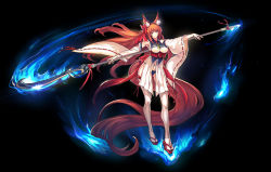 1girl absurdly_long_hair animal_ears blue_fire breasts fire flame highres japanese_clothes large_breasts long_hair navel obi orange_eyes panties pixiv_fantasia pixiv_fantasia_t polearm red_hair ryuuzaki_ichi sash solo thighhighs underboob underwear very_long_hair weapon