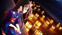 1girl blush game_cg green_eyes highres japanese_clothes kimono landscape lantern long_hair natsuiro_recipe ousaka_nozomi solo yaehara_yuzu yukata