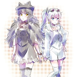 2girls animal_hat black_hair blake_belladonna blue_eyes bracelet cat_hat company_connection crunchyroll earrings fashion flat_chest hat highres iesupa jacket jewelry long_hair multiple_girls ponytail pose rwby scar sketch skirt sunglasses sunglasses_on_head thighhighs weiss_schnee white_hair yellow_eyes