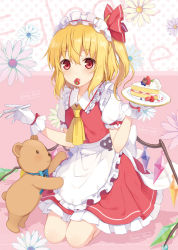 1girl 6u_(eternal_land) ascot bat_wings blonde_hair blush cake eating flandre_scarlet food fruit gloves hat looking_at_viewer maid_headdress puffy_sleeves red_eyes ribbon seiza short_hair short_sleeves side_ponytail sitting solo strawberry stuffed_animal stuffed_toy teddy_bear touhou white_gloves wings